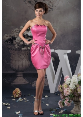 Beautiful Beading and Ruches Accent Mini Prom Dresses in Hot Pink