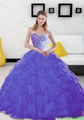 Beautiful Beading and Ruffles Sweetheart Lavender Couture Quinceanera Dresses for 2015
