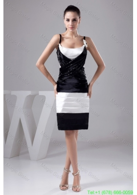 Black and White Prom Gown Dress with Beading and Handmade Flower