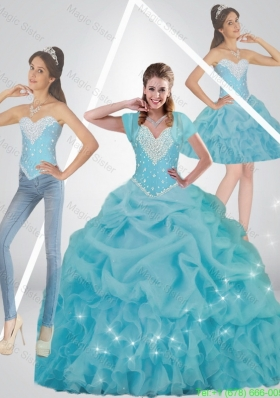 Cute Beaded 2015 Quinceanera Dresses in Baby Blue