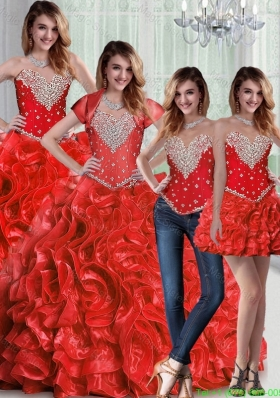 Detachable Sweetheart Red Quinceanera Dresses with Beading and Ruffles