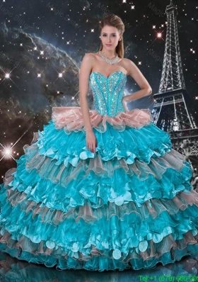 Feminine Sweetheart Quinceanera Dresses with Beading and Ruffled Layers