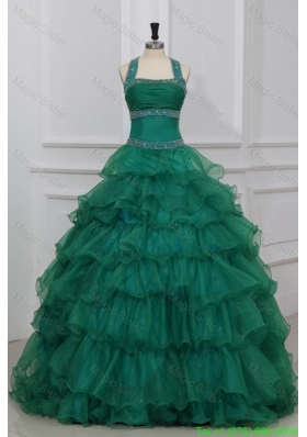 Green Halter Top Beading and Ruffles Layered Couture Quinceanera Dress