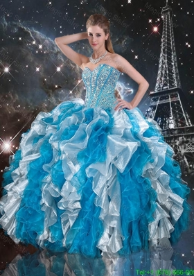 Luxurious Beaded White and Blue Couture Quinceanera Dresses1 with Ruffles