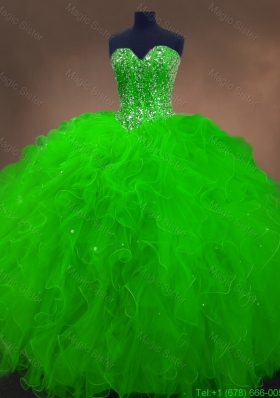 Perfect Beaded Spring Green Quinceanera Gowns with Ruffles