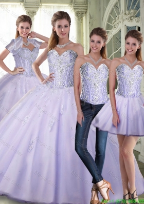 Romantic Ball Gown Sweetheart Lavender Quinceanera Dresses with Beading