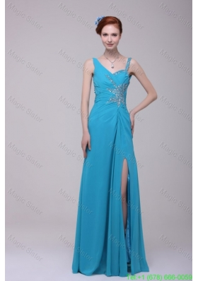 2015 Winter Asymmetrical Beading and High Silt Chiffon Prom Dress in Teal