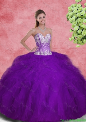 2016 Popular Sweetheart Beaded and Ruffles Quinceanera Dresses in Purple