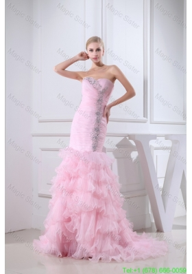 Baby Pink Brush Train Sweetheart Beaded Prom Dress with Ruffle