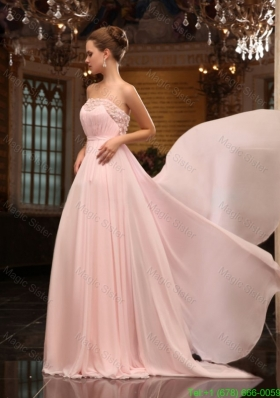 Baby Pink Strapless Appliques Ruching Brush Train Prom Dress