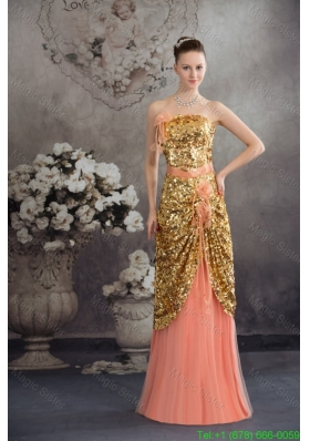 Beautiful Gold Paillette and Flowers Accent Prom Celebrity Dress in Peach