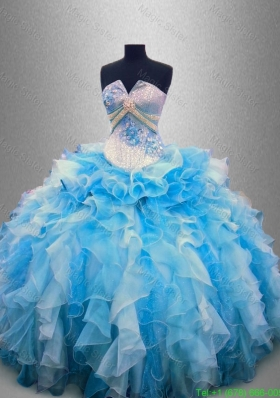 Elegant Strapless Beaded and Ruffles Quinceanera Gowns in Multi Color