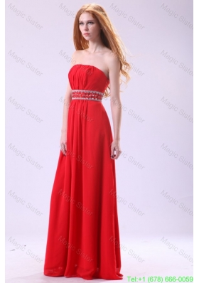 Empire Strapless Red Long Beading Chiffon Floor Length Prom Dress