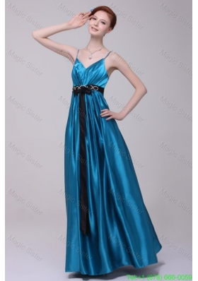 Informal Empire Straps Floor Length Elastic Woven Satin Teal Prom Dress with Beading