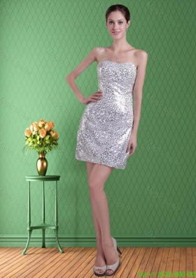 Natural Strapless Sequins Silver Column Short Prom Dress for 2016