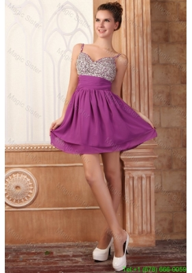 Spring Fuchsia Short Mini-length Spaghetti Straps Prom Dress with Beading
