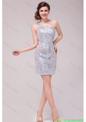 Summer Column Sliver One Shoulder Sequins Mini-length Prom Dress