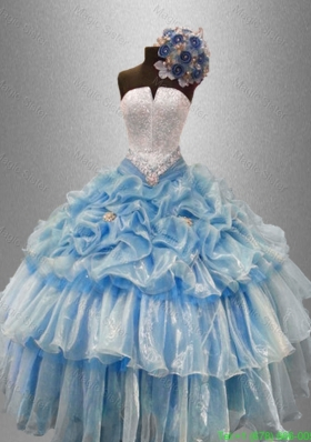 Summer Pretty Strapless Beaded Quinceanera Gowns with Ruffled Layers