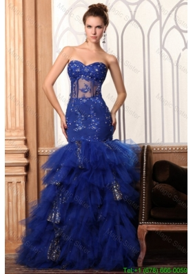 2016 Spring Sweetheart Mermaid Appliques and Ruffles Layered Prom Dress in Blue