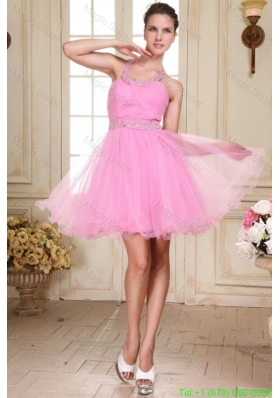 Rose Pink Halter Top Neck Mini Length Beading Prom Dress with Organza
