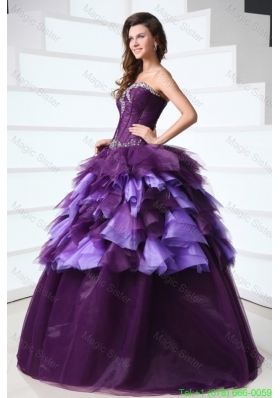 Sweetheart Dark Purple Sweet Train Quinceanera Dress with Beading