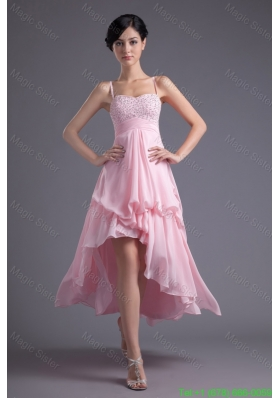 A Line Baby Pink Sweetheart Beading Chiffon High Low Prom Dress