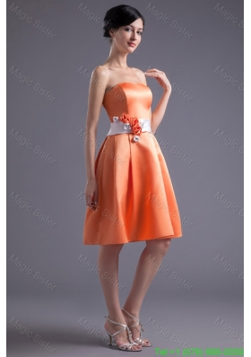 A Line Orange Red Strapless Sash Knee Length Satin Prom Dress