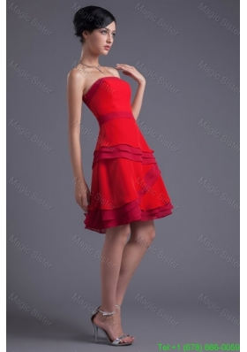 A Line Red Strapless Mini Length Chiffon Ruching Prom Dress