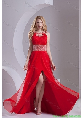 A Line Scoop Chiffon Beading and Ruching Sweep Train Prom Dress