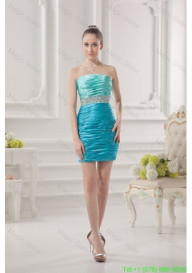 Column Strapless Beading and Ruching Taffeta Prom Dress