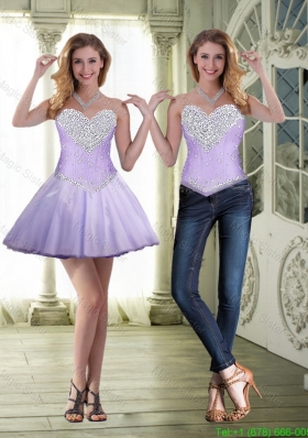 Feminine Short Sweetheart and Beaded Prom Dresses in Lavender