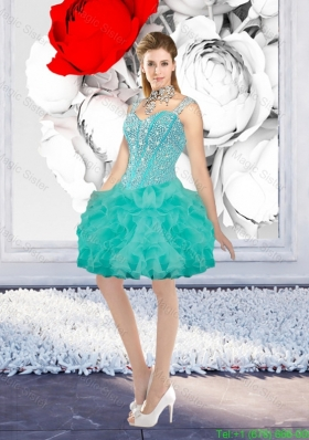 Sexy Ball Gown Beaded Prom Dresses with Straps in Turquoise