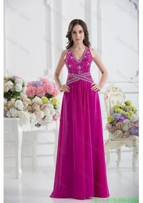 V Neck Empire Floor Length Prom Dress in Fuchsia with Appliques