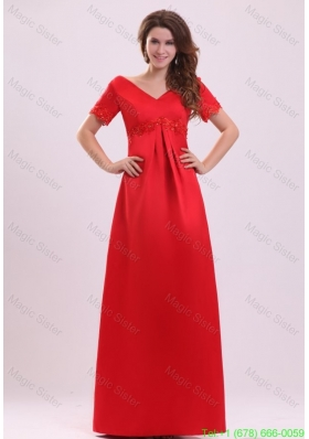 2016 Spring Empire V Neck Short Sleeves Appliques Satin Mother of the Bride Dress in Red