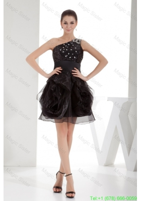 2016 Summer Black One Shoulder Beaded Ruffles Short Prom Dress