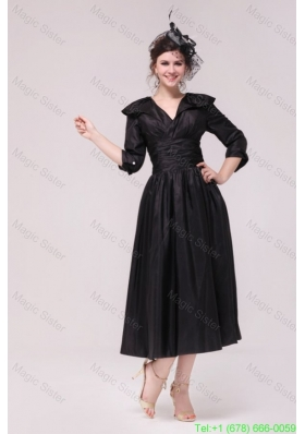 A Line V neck Black Tea Length Ruching Mother of the Bride Dress with Half Sleeves
