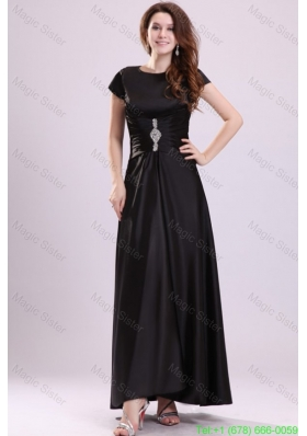 Bateau Black Beading Empire Ankle Length Mother of the Bride Dress with Short Sleeves
