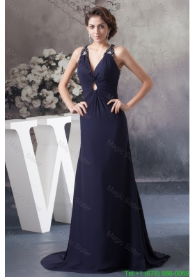 Beaded Navy Blue Prom Graduation Dress with Criss Cross Back
