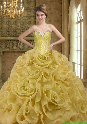 Beautiful Sweetheart Beading and Rolling Flowers Gold 2015 Quinceanera Gown