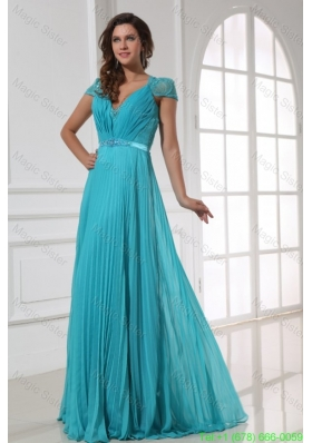 Empire V Neck Floor Length Beading Cap Sleeves Mother of the Bride Dress with Pleats