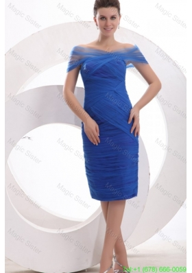 Knee Length Column Off The Shoulder Mother of the Bride Dress in Blue