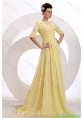 Light Yellow Empire Bateau Appliques with Beading Short Sleeves Mother of the Bride Dress
