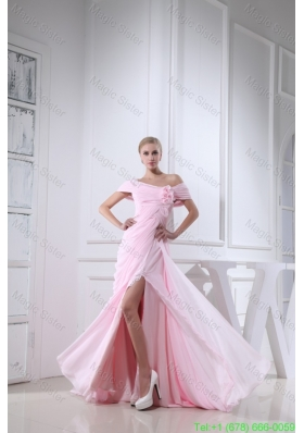 Off the Shoulder Slitted Chiffon Prom Dress for Girls in Baby Pink