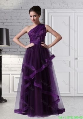 One Shoulder Tulle Empire Purple Ruching Romantic Prom Dress 150.89