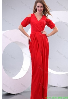 Red Column V Neck Floor Length Short Sleeves Mother of the Bride Dress with Silt