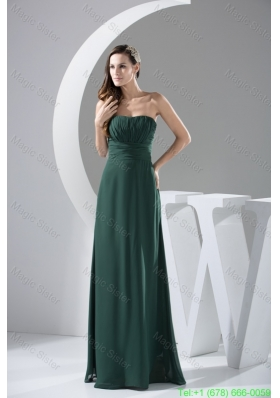 Ruching Decorated Strapless Full Length Column Chiffon Prom Dresses