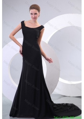 Scoop Black Chiffon and Lace Court Train Mother of the Bride Dress for Evening Party