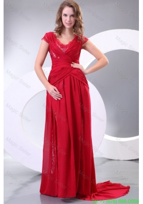 V Neck Empire Watteau Train Wine Red Mother of the Bride Dress with Short Sleeves