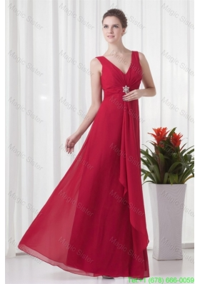 2014 Cheap Empire V Neck Chiffon Red Beading Mother of the Bride Dress