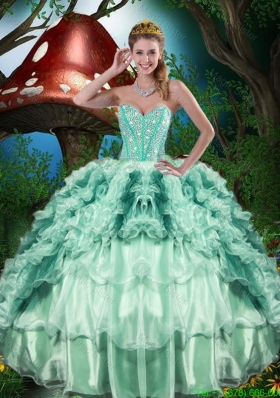 2015 Gorgeous Sweetheart Quinceanera Dresses with Beading and Ruffles